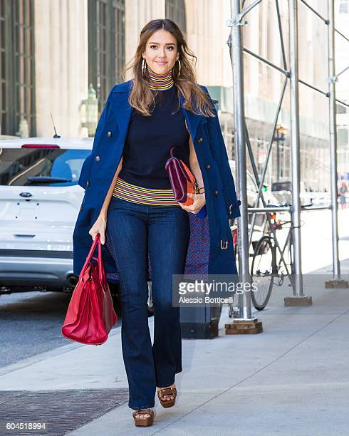 Jessica Alba is seen arriving at her hotel on September 13 2016 in New York New York