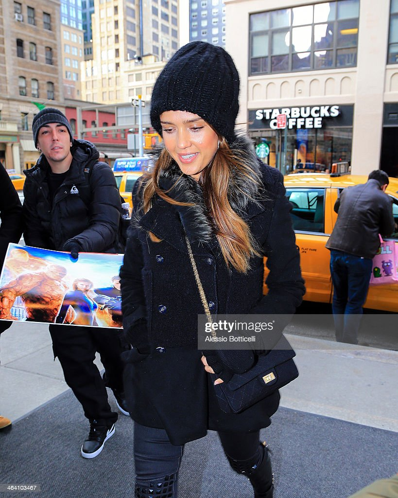 Jessica Alba is seen arriving at Trump SoHo Hotel on January 20, 2014 in New York City.