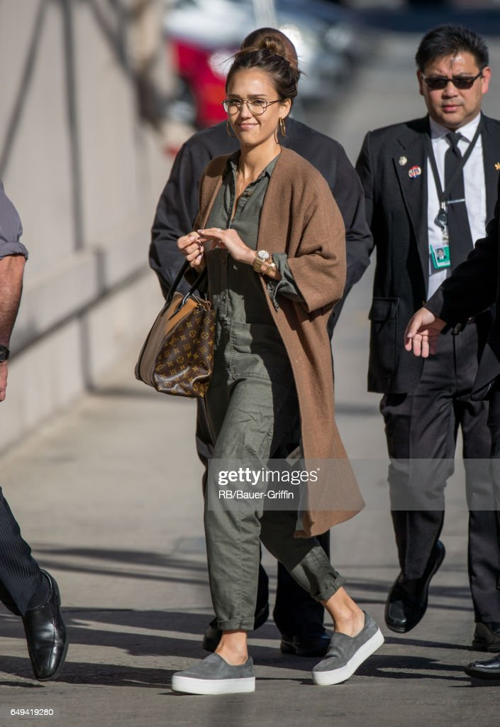 Jessica Alba is seen at 'Jimmy Kimmel Live' on March 07, 2017 in Los Angeles, California.