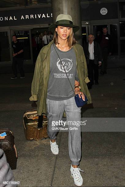 Jessica Alba is seen at LAX on July 09 2015 in Los Angeles California
