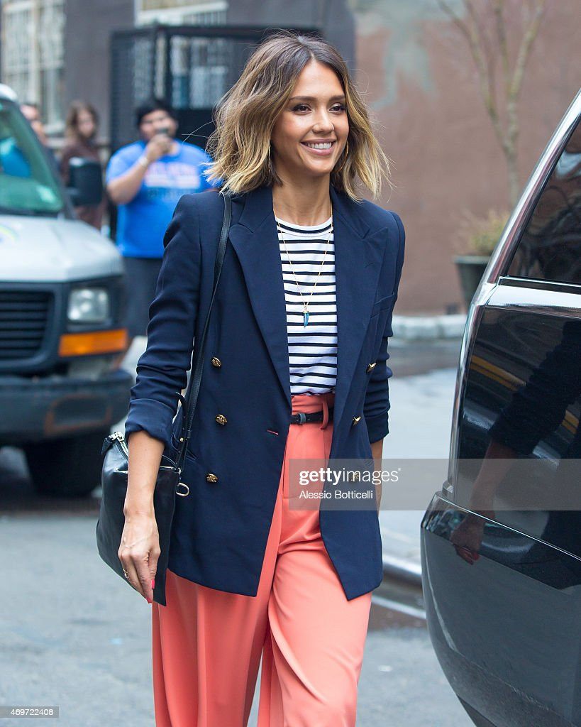 Jessica Alba is seen on April 14 2015 in New York City