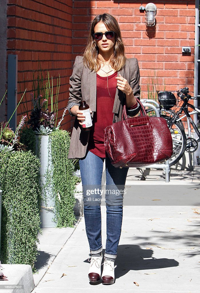 Jessica Alba is seen on October 21, 2013 in Los Angeles, California.