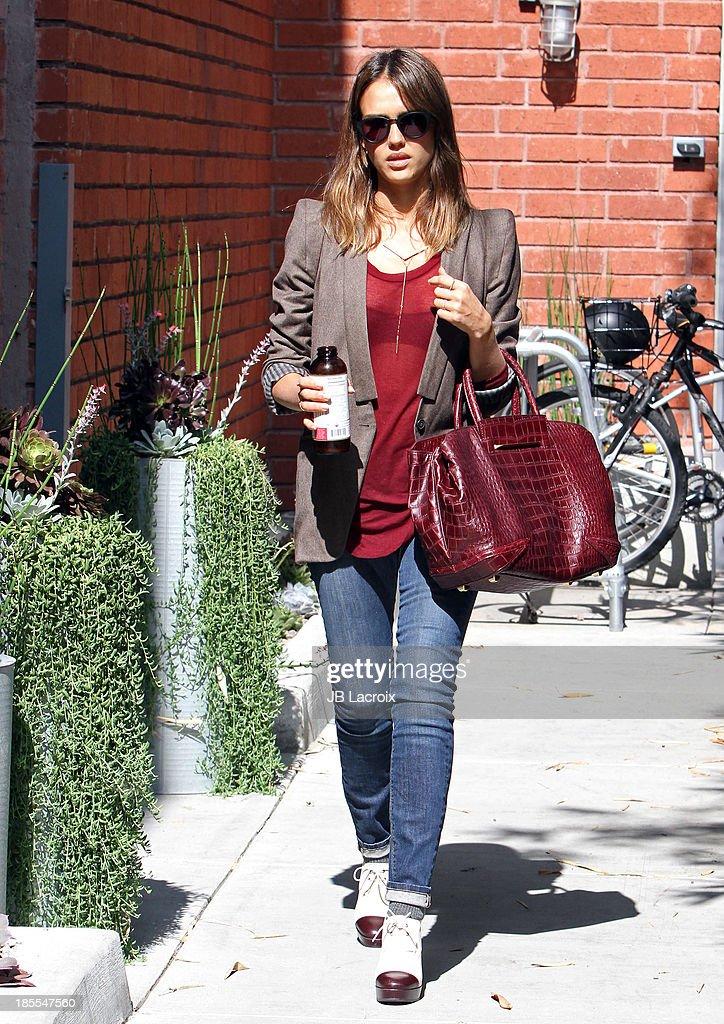 Jessica Alba is seen on October 21, 2013 in Los Angeles, California.