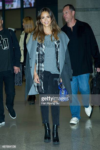 Jessica Alba is seen upon arrival at Incheon International Airport on October 21 2014 in Incheon South Korea