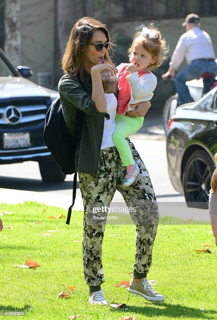 Jessica Alba is seen with her daughter Haven Garner Warren at Coldwater Canyon Park on February 23 2014 in Los Angeles California