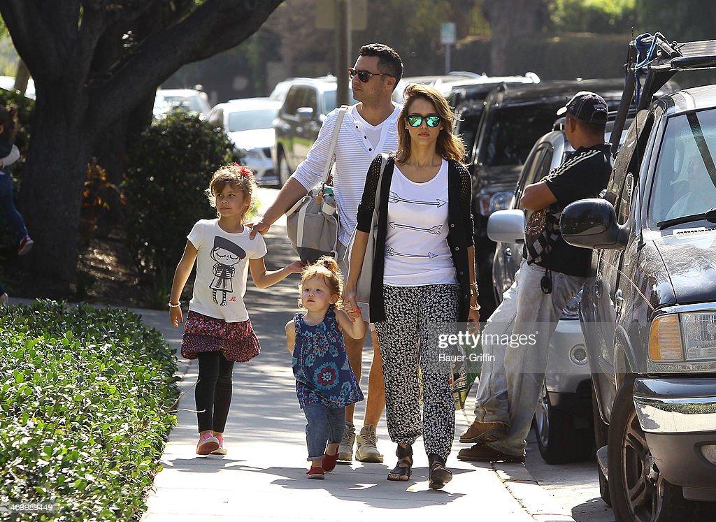 Jessica Alba is seen with her husband Cash Warren and daughters Honor Marie Warren and Haven Garner Warren on February 17 2014 in Los Angeles...