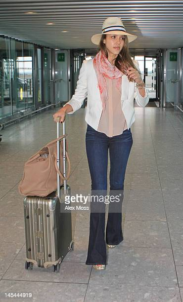 Jessica Alba leaves her hotel and heads to Heathrow Airport on May 30 2012 in London England