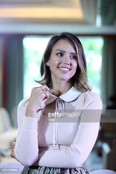 Jessica Alba poses for a photograph during the Global Women Entrepreneurs Conference on May 20 2015 in Hangzhou Zhejiang province of China The Global...