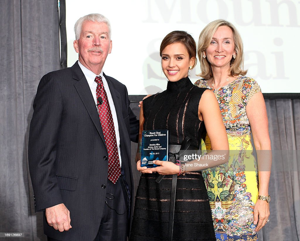 Jessica Alba receives award from Dr. Philip J. Landrigan and Rhonda Sherwood, Founding Vice Chairman of Mt. Sinai Children's Environmental Health Center, at the Champion For Children Award Ceremony Honoring Jessica Alba at Hyatt Regency Greenwich on May 20, 2013 in Greenwich, Connecticut.