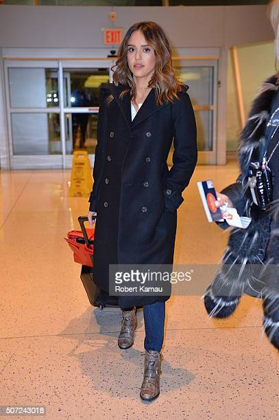 Jessica Alba seen at JFK Airport on January 27 2016 in New York City