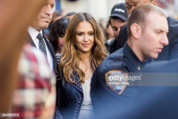 Jessica Alba seen in the streets of Manhattan outside Rebecca Minkoff during New York Fashion Week on September 9 2017 in New York City