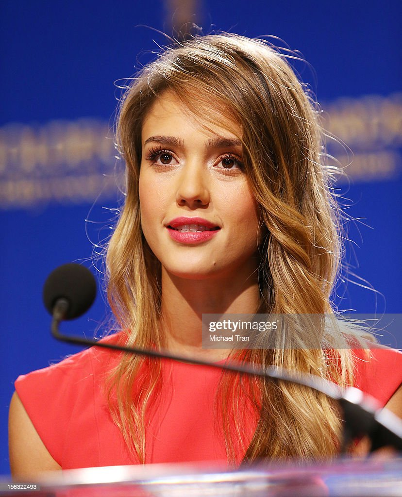 <a gi-track='captionPersonalityLinkClicked' href=/galleries/search?phrase=Jessica+Alba&family=editorial&specificpeople=201811 ng-click='$event.stopPropagation()'>Jessica Alba</a> speaks at the 70th Annual Golden Globe Awards nominations announcement held at The Beverly Hilton on December 13, 2012 in Los Angeles, California.