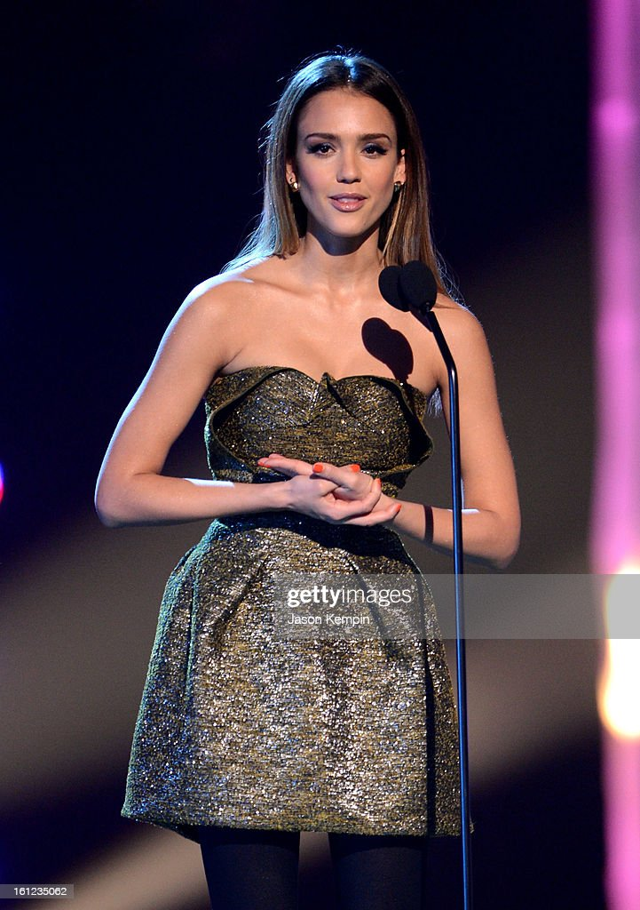 Jessica Alba speaks onstage at the Third Annual Hall of Game Awards hosted by Cartoon Network at Barker Hangar on February 9, 2013 in Santa Monica, California. 23270_003_JK_0389.JPG