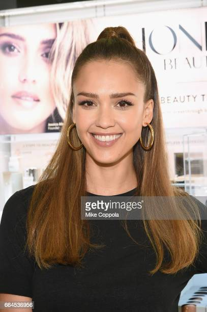 Jessica Alba surprises Target guests with Honest Beauty makeovers at Target on April 4 2017 in Jersey City New Jersey