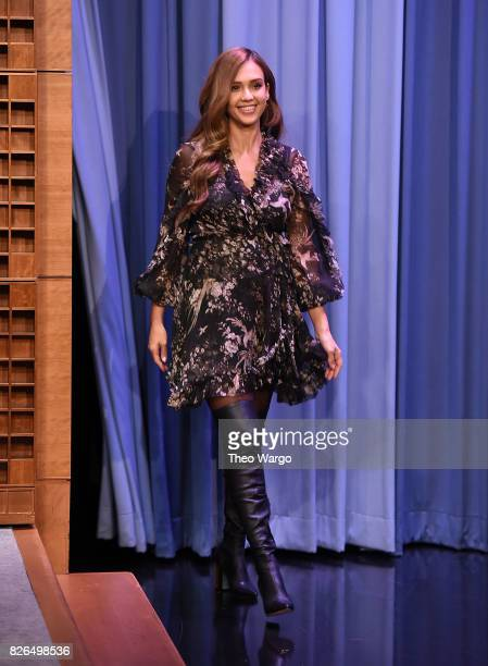 Jessica Alba Visits 'The Tonight Show Starring Jimmy Fallon' at Rockefeller Center on August 4 2017 in New York City