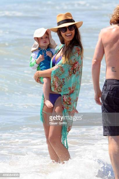 Jessica Alba with husband Cash Warren take the kids Haven Garner Warren and Honor Marie Warren to a Malibu beach on September 02 2013 in Los Angeles...