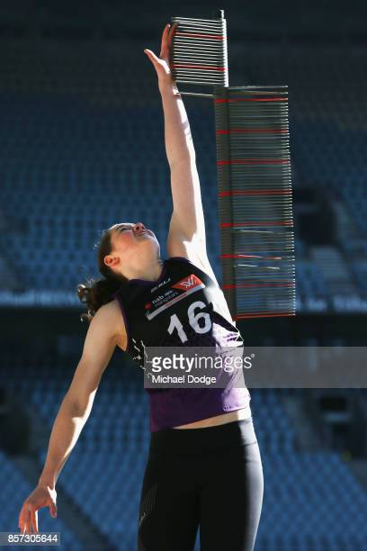 Jessica Allan from Glenelg takes part in the vertical leap during the AFLW Draft Combine at Etihad Stadium on October 4 2017 in Melbourne Australia
