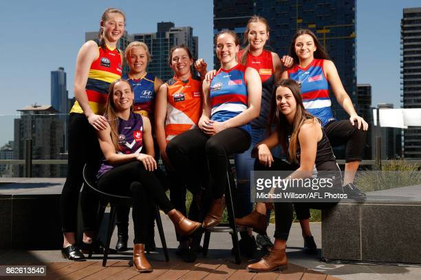 Jessica Allan of the Crows Stephanie Cain of the Dockers Jordan Zanchetta of the Lions Jodie Hicks of the Giants Isabel Huntington of the Bulldogs...