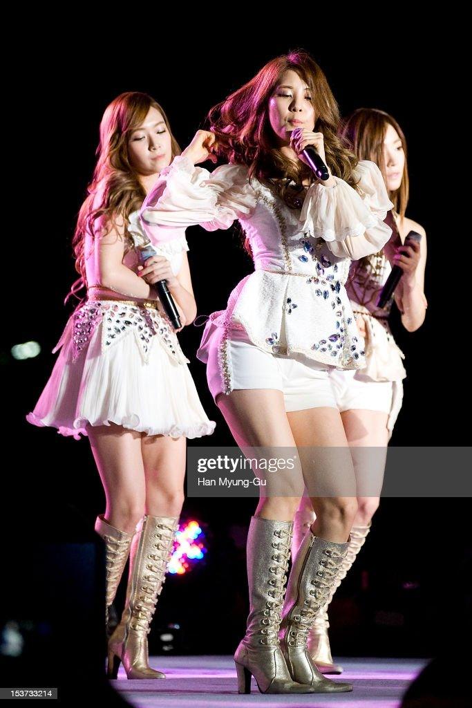 Jessica and Seohyun of South Korean girl group Girls' Generation perform onstage during the 2012 Gangnam Festival on October 7, 2012 in Seoul, South Korea.