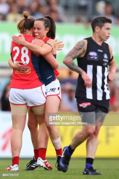 Jessica Anderson and Daisy Pearce of the Demons celebrate a goal during the round two AFL Women's match between the Collingwood Magpies and the...