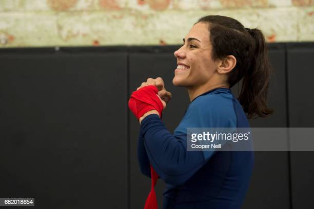 Jessica Andrade holds an open workout for the fans and media at Mohler MMA Brazilian JiuJitsu Boxing on May 11 2017 in Dallas Texas