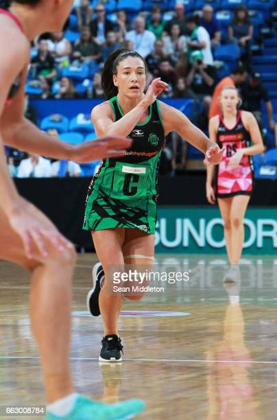 Jessica Anstiss of Fever competes during the round seven Super Netball match between the Fever and the Thunderbirds at Perth Arena on April 1 2017 in...