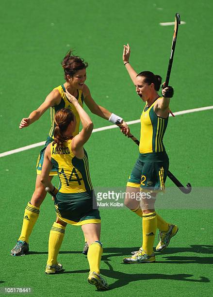 Jessica Arrold Anna Flanagan and Madonna Blyth of Australia celebrate a goal during the Women's Semifinal match between Australia and England at...