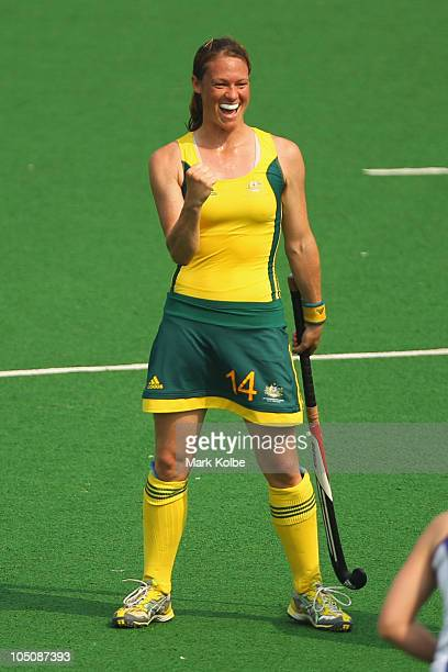 Jessica Arrold of Australia celebrates scoring a goal during the Women's Pool A match between Australia and Scotland at Major Dhyan Chand National...