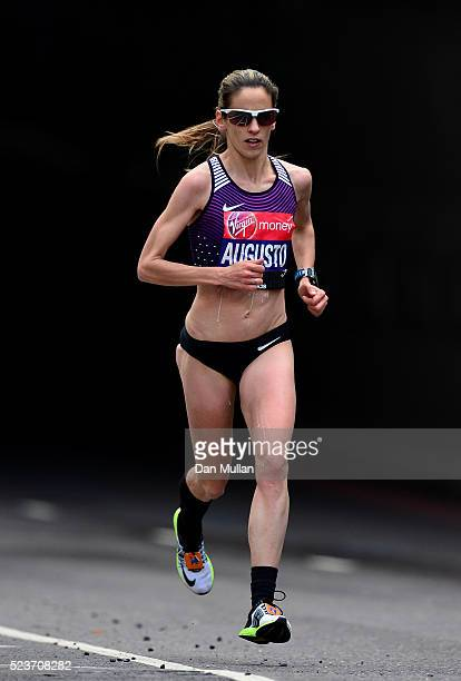 Jessica Augusto of Portugal competes during the Virgin Money London Marathon on April 24 2016 in London England
