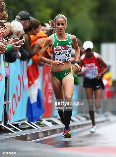 Jessica Augusto of Portugal competes in the Women's Marathon during day five of the 22nd European Athletics Championships on the road race course on...