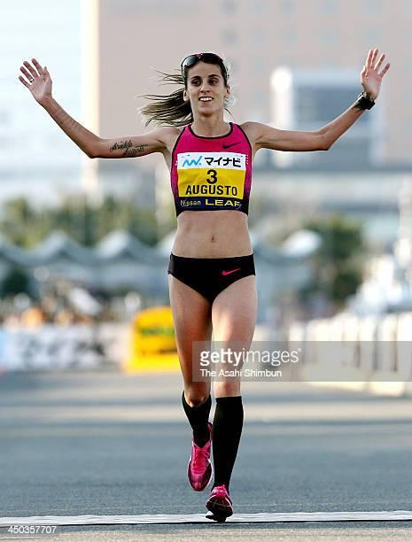 Jessica Augusto of Portugal crosses the finishing line during the 5th Yokohama Women's Marathon on November 17 2013 in Yokohama Kanagawa Japan