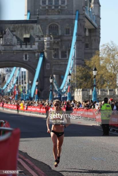 Jessica Augusto of Portugal crosses tower bridge during the Virgin London Marathon 2012 on April 22 2012 in London England