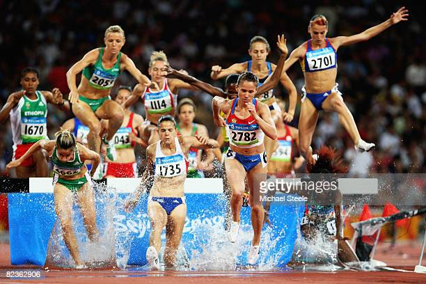 Jessica Augusto of Portugal Sophie Duarte of France Tatiana Petrova of Russia and Ancuta Bobocel of Romania compete in the Women's 3000m Steeplechase...