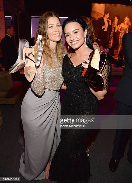Jessica Biel and Demi Lovato attend the 2016 Vanity Fair Oscar Party Hosted By Graydon Carter at the Wallis Annenberg Center for the Performing Arts...