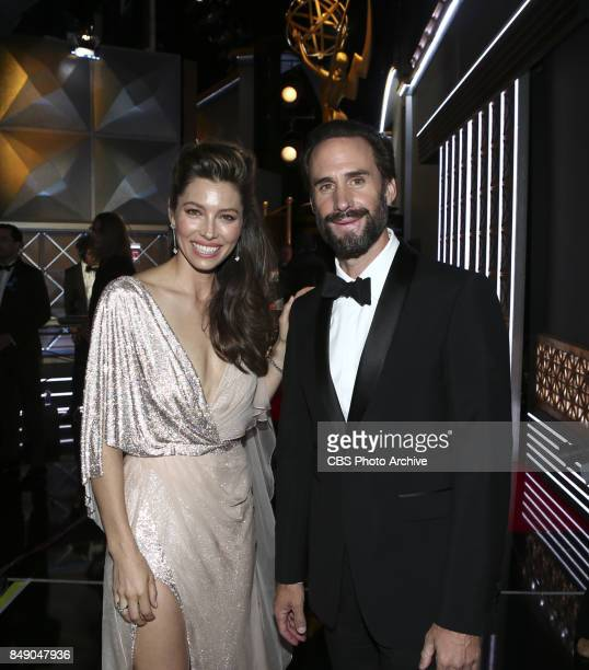 Jessica Biel and Joseph Fiennes pose for a photograph backstage at the 69TH PRIMETIME EMMY AWARDS LIVE from the Microsoft Theater in Los Angeles...