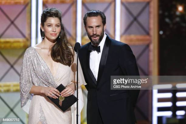 Jessica Biel and Joseph Fiennes presents the Emmy Award for Outstanding Lead Actor in a Limited Series or a Movie at the 69TH PRIMETIME EMMY AWARDS...