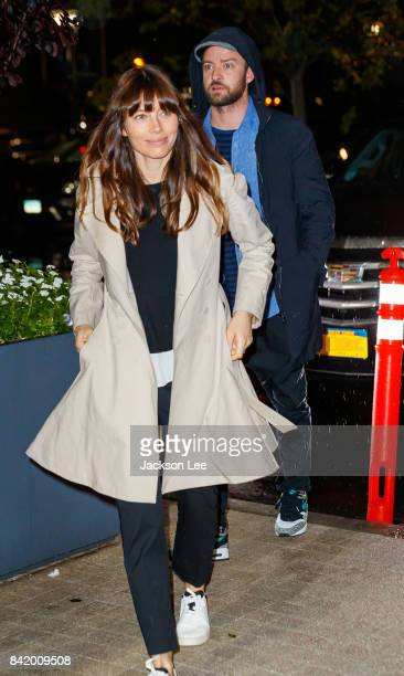 Jessica Biel and Justin Timberlake arrive at the 2017 US Open Tennis Championships at Arthur Ashe Stadium on September 2 2017 in New York City