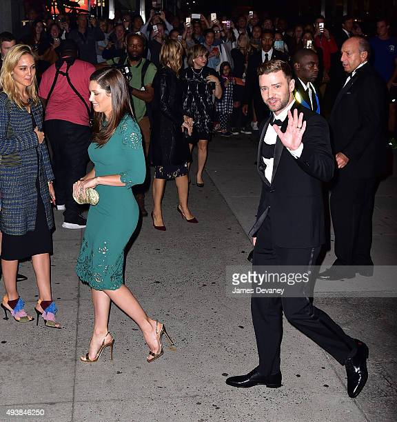 Jessica Biel and Justin Timberlake arrive to Cipriani Wall Street on October 22 2015 in New York City