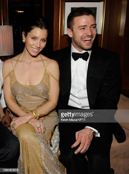 Jessica Biel and Justin Timberlake attend the 2011 Vanity Fair Oscar Party Hosted by Graydon Carter at the Sunset Tower Hotel on February 27 2011 in...