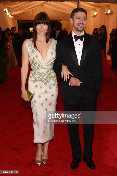 Jessica Biel and Justin Timberlake attend the 'Schiaparelli And Prada Impossible Conversations' Costume Institute Gala at the Metropolitan Museum of...
