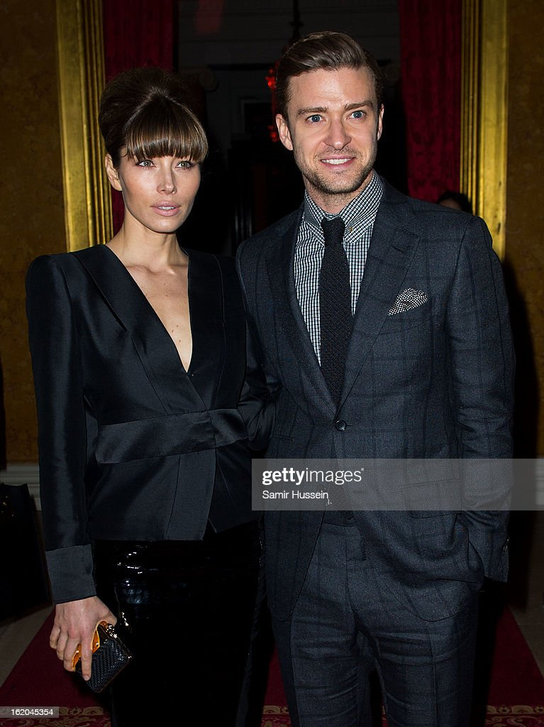 Jessica Biel and Justin Timberlake attend the Tom Ford show during London Fashion Week Fall/Winter 2013/14 on February 18, 2013 in London, England.