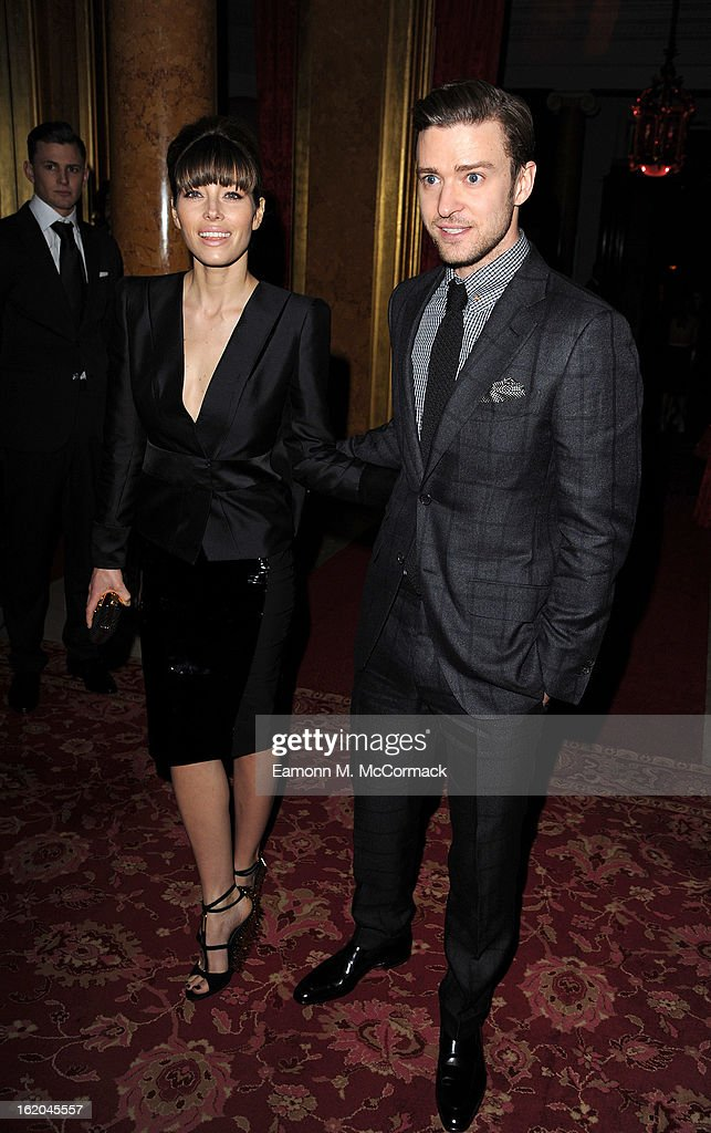 Jessica Biel and Justin Timberlake attend the Tom Ford show during London Fashion Week Fall/Winter 2013/14 at on February 18, 2013 in London, England.
