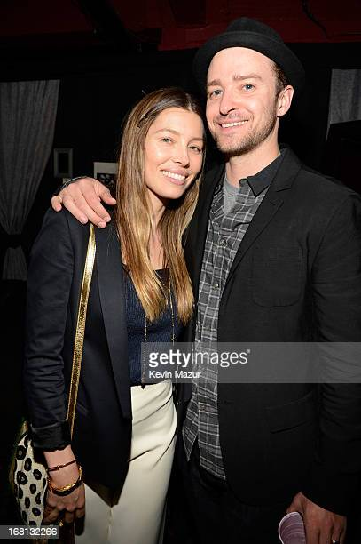 Jessica Biel and Justin Timberlake backstage after MasterCard Priceless Premieres presents Justin Timberlake at Roseland Ballroom on May 5 2013 in...