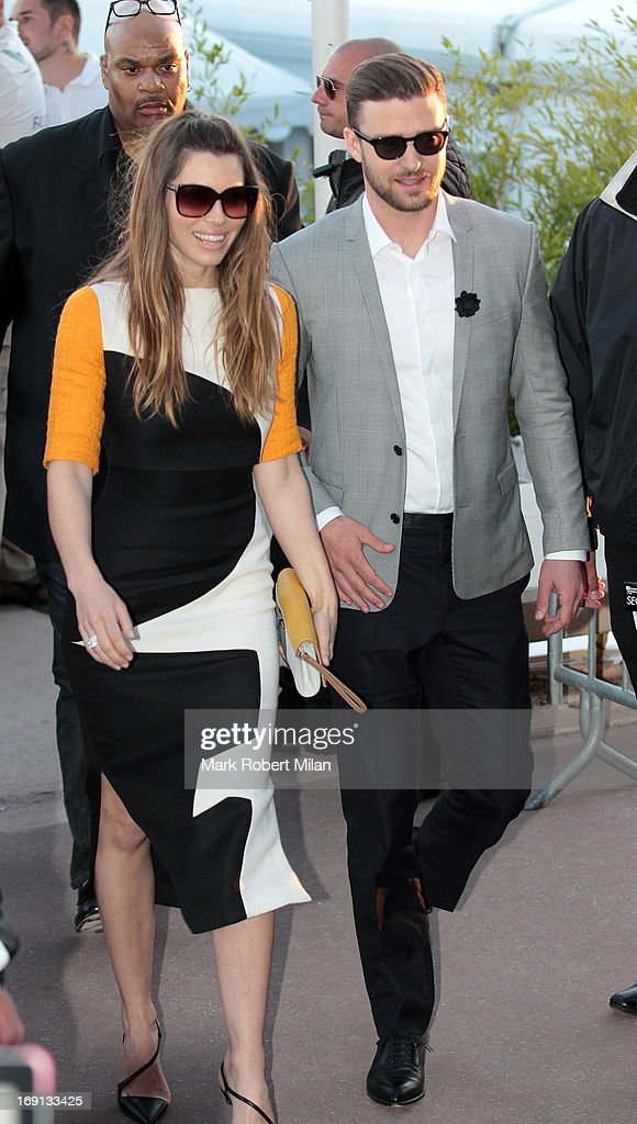 Jessica Biel and Justin Timberlake sighted leaving Le Grand Journal studio during The 66th Annual Cannes Film Festival on May 20, 2013 in Cannes, France.
