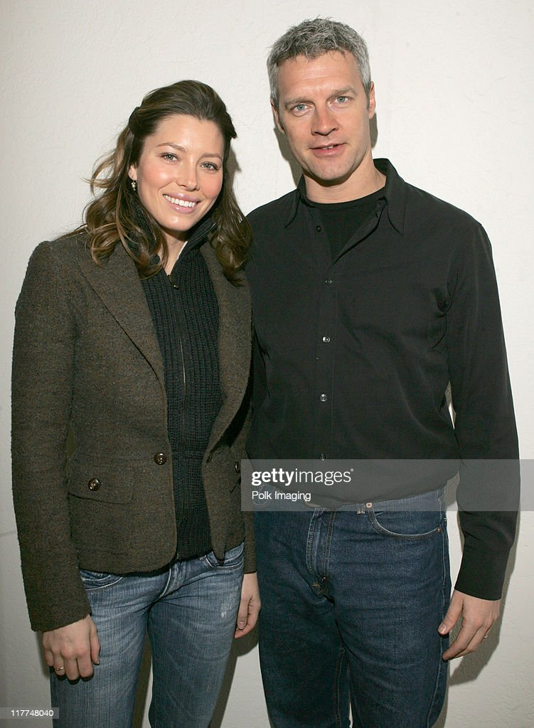 Jessica Biel and Neil Burger at the Premiere Film Music Lounge