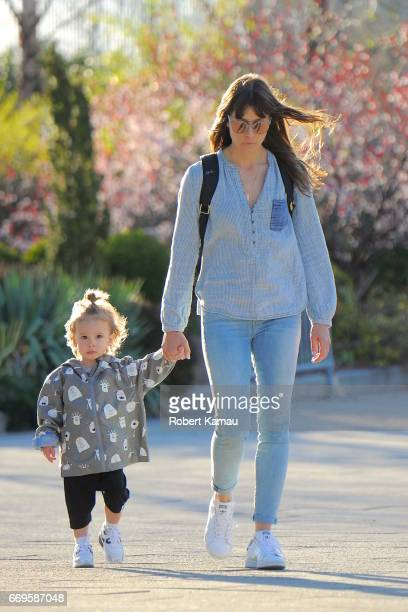 Jessica Biel and son Silas Randall Timberlake seen at a park in Chelsea Pier in Manhattan on April 17 2017 in New York City