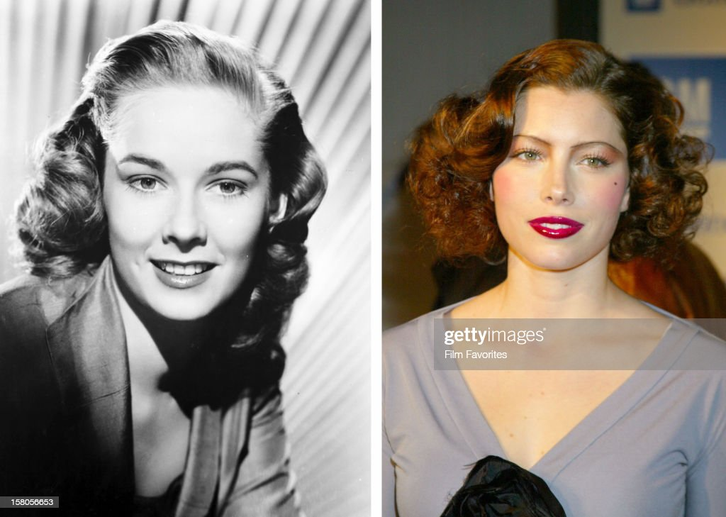 In this composite image a comparison has been made between actresses Vera Miles (L) and Jessica Biel. Actress Jessica Biel will play actress Vera Miles in a film biopic about filmmaker Alfred Hitchcock entitled 'Hitchcock.' HOLLYWOOD - March 18: Jessica Biel appears at GM Ten Celebrates 75 Years of Film with Celebrity Fashion Show on March 18, 2003 in Hollywood, California.