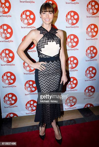 Jessica Biel appears at the Hoosier Heartland Film Festival screening of The Book of Love at the Scottish Rite Cathedral on October 20 2016 in...