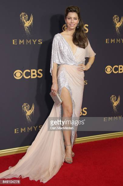 Jessica Biel arrives at the 69th Annual Primetime Emmy Awards at Microsoft Theater on September 17 2017 in Los Angeles California