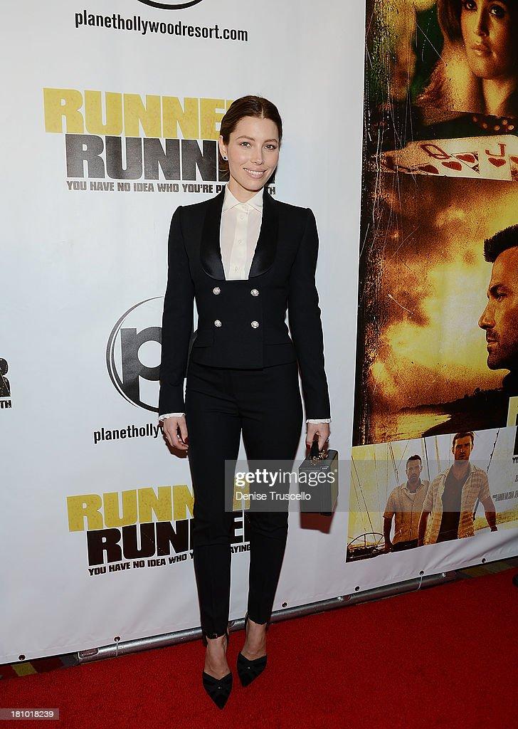 Jessica Biel arrives at the world premiere of Runner Runner at Planet Hollywood Resort Casino on September 18 2013 in Las Vegas Nevada